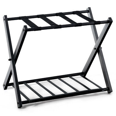 Folding Metal Luggage Rack Suitcase Shoe Holder Home Guestroom with Shelf Black