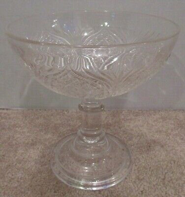 Vintage or Antique Pressed Glass Compote Bowl Candy Dish Footed Lovely Condition