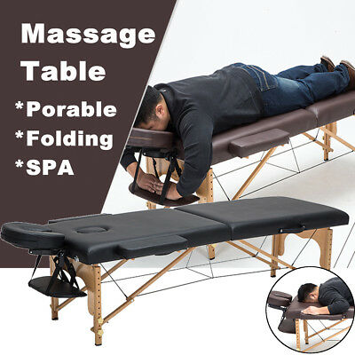 Massage Table Bed Black Therapy Beauty  Adjustable Couch Salon Portable U