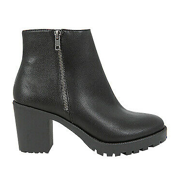 NEW Spendless Womens Survive Vybe Zip Up Block Heel Ankle Boot