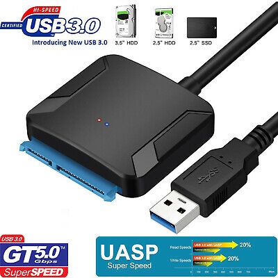 "USB 3.0 To 2.5"" 3.5"" SATA III HDD SSD Hard Disk Drive Adapter Cable Converter"