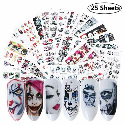 Halloween Nail Stickers Day of the Dead Water Transfer Nail Decals 25 Sheets
