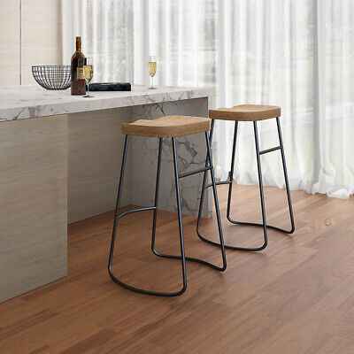 Industrial Science School Lab Raw Lacquer Steel Wooden Bar Stool Pub Cafe