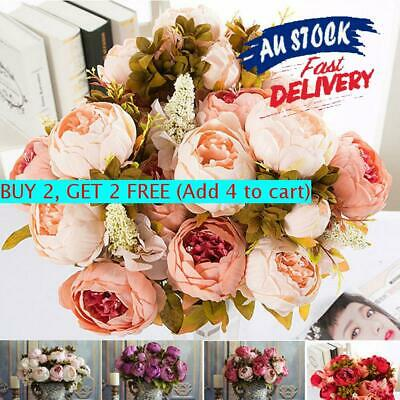 13/21 Heads Silk Artificial Flowers Fake Peony Bouquet Home Party Wedding Decor