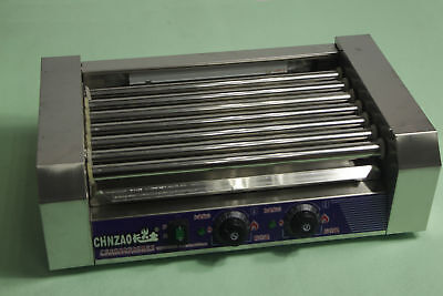 220V Double Temperature Control Commercial 7 Roller Hot Dog Grill Cooker Machine