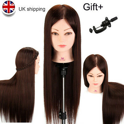 22 Inch Salon Hairdressing Training Head 50% Real Hair Mannequin Doll & Clamp UK