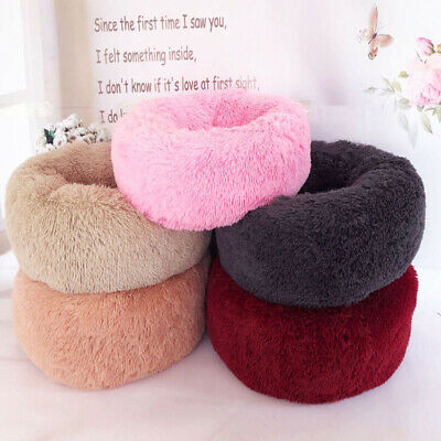 Soft Plush Round Pet Bed Dog Cat Warm Comfortable Sleeping Fluffy Nest Comfy Bed