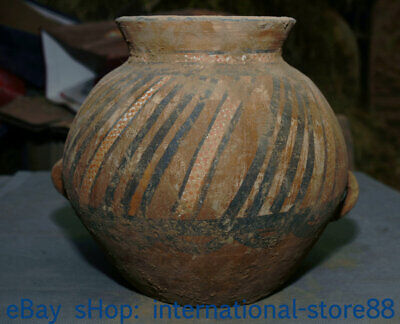 """8.8"""" Old Chinese Neolithic Hongshan Dadiwan Pottery Painting 2 Ear striation Jar"""