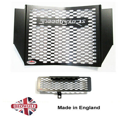 1050 Speed Triple RS (16-19) Black Radiator & Oil Cooler Protector, Cover,Grill