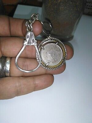 Silver925 key chain with ancient Egyptian antique coin