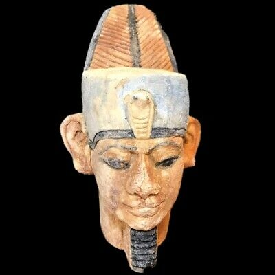 EGYPTIAN PHAROAH BUST STATUE, LATE PERIOD 664 - 332 BC (2) Large Over 14 Cm