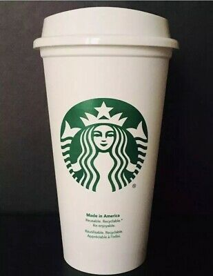 Starbucks Reusable Plastic Coffee Cup White Grande 16oz Coffee Tea Hot Beverage