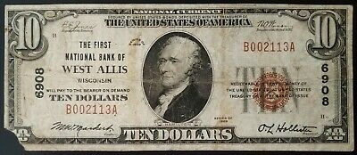 1929 $10 National Currency from the First National Bank of West Allis, Wisconsin