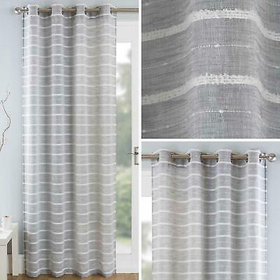 Grey Voile Curtain Panels Pom Pom Stripe Sheer Linen Eyelet Voiles Curtains