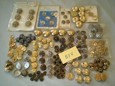 Vintage Mixed Lot Sewing Buttons ~Metal/Plastic ~Silver/Gold + ~Estate Find! B34