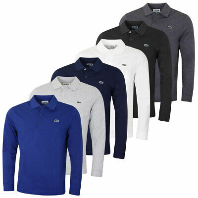 Lacoste Mens 2019 Long Sleeve Ribbed Classic Lightweight 3 Button Polo Shirt