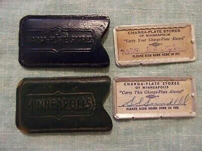 2 Vintage Charga-Plate Stores Of Minneapolis Credit Charge Card & Case