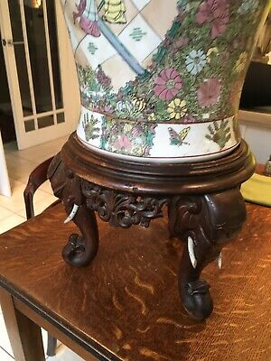Antique Three Elaphant Head Indian Wooden Vase Stand ,side Table