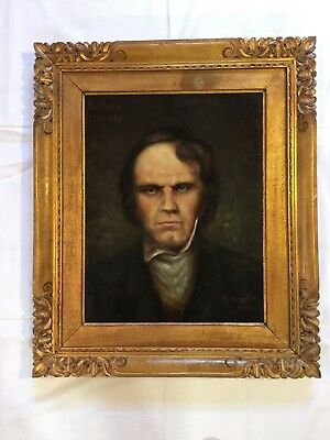 Oil Painting Old Beethoven H.Torggler in Carved Picture Frame Belgium 1907