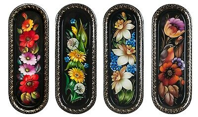 Original Russian Jostovo Lacquer Painting. Metal Tray Handpainted 21x8cm     /4