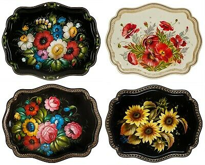 Original Russian Jostovo Lacquer Painting. Metal Tray Handpainted 45x36cm   /20