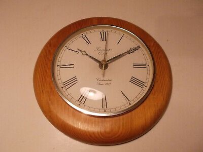 Vintage Timemaster Circular Light Wood Dial Quartz Wall Clock Retro - 8 1/2""