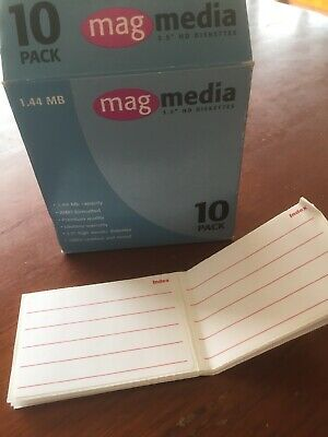 "MAGMEDIA 3.5"" HD Floppy Diskettes Never Used Opened Box Of 10 With Labels"