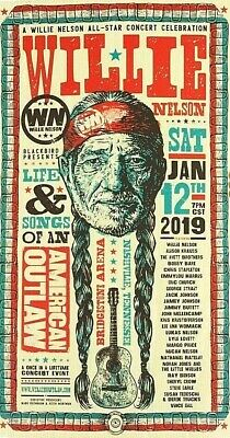 WILLIE NELSON 2019 Life Song TRIBUTE CONCERT PRINT POSTER AVETT BROTHERS XX/750