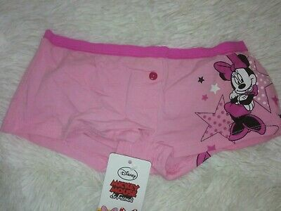 Bnwt Disney Minnie Mouse Girls Pink Boxer Briefs 7-8 Years Cartoon Character
