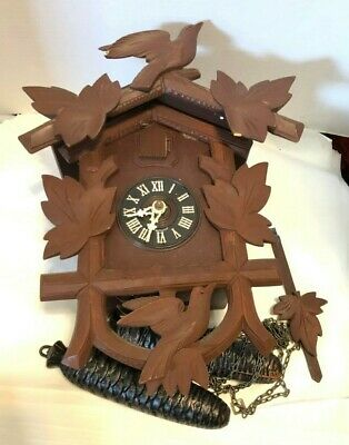 Vintage Black Forest 8 Day Cuckoo Clock Germany Movement Working