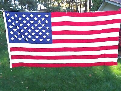 "New LARGE US 50 star flag 4'-6"" x 9'-6"" made by Valley Forge Flag company"