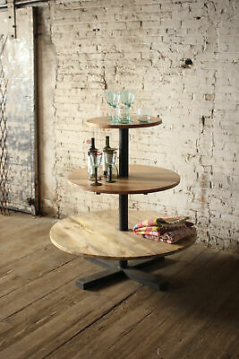 GwG Outlet Round Three Tiered Mango Wood and Iron Display Tower NBH2209