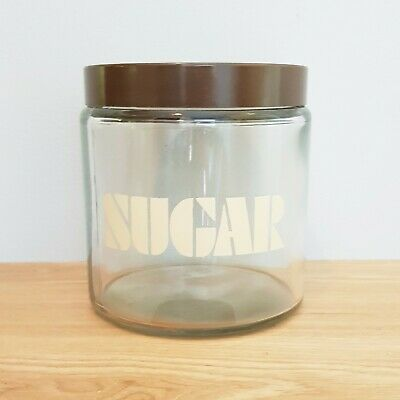 Vintage 70s Retro Glass Sugar Jar Canister Made In England