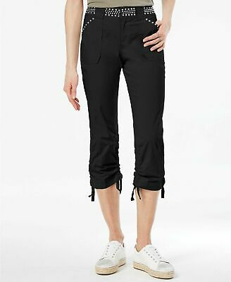 Sale* Inc International Concepts Women's Black Studded Cropped Cargo Pants Sz 14