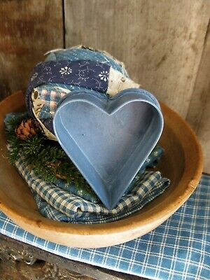Small Early Antique Tin Heart Mold w Rolled Edges Blue Milk Paint Free Shipping