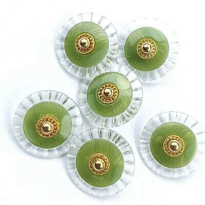 6pcs Olive green buttons gold clear plastic sewing DIY 22mm crafts vintage decor