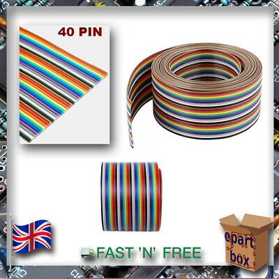 40 Way 40 pin 1.27mm Flat Color Rainbow Ribbon IDC Cable Wire