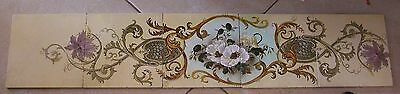 5 Art Nouveau Colorful Matching British Tiles-Decorated With Flowers And Leaves