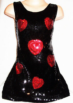 GIRLS 60s BLACK RED HEART PATTERN SPARKLY GLITZY SEQUIN DISCO DANCE PARTY DRESS
