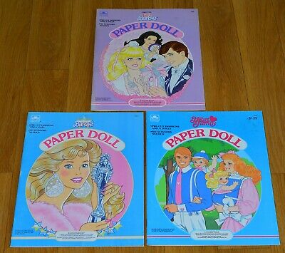 Vintage Rare 1985, 1988 & 1989 Barbie Paper Doll Cut Out Books