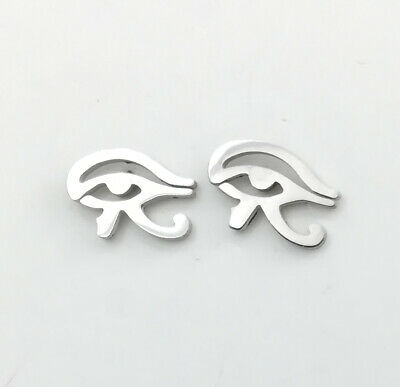 Silver Stainless Steel Egypt God Eye Of Horus Ra Stud Earrings Egyptian Jewelry