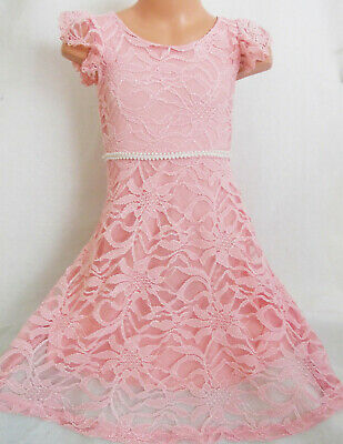 GIRLS VINTAGE STYLE PASTEL PINK FLORAL LACE SPECIAL OCCASION PARTY SHIRT DRESS