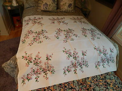 54 X 50 Cotton Tablecloth Pink Cherry Blossoms Design Vtg 1940S 50S Estate
