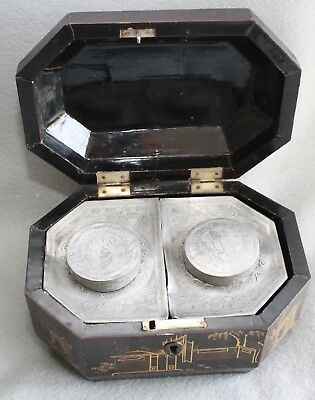 Antique Asian Wooden Tea Caddy w/ Metal Tea Containers  MUST SEE