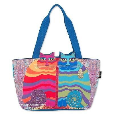 Laurel Burch Cat A Bunch of Love X-LARGE Shoulder Tote Bag Outer Pockets Nw 2020