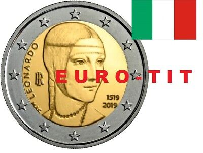 2 €  ITALIE  COMMEMORATIVE   2019  1 X PIECE    LEONARD DE VINCI 2019 disponible
