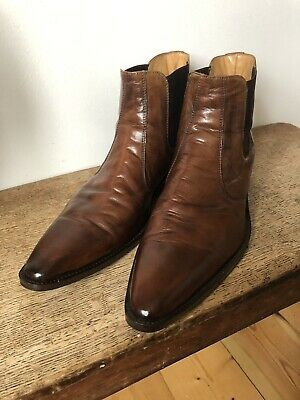 True Vintage Italian Mens Leather Chelsea Boots Size 11