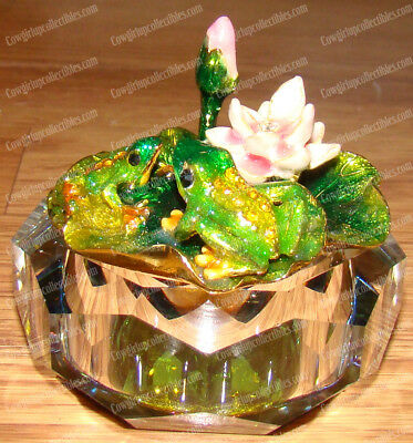 Frog's Lilly Pad Glass Box (3255) Enameled Pewter, Australian Crystals