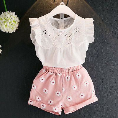 Toddler Kids Baby Girls Outfits Clothes T-shirt Vest Tops+Shorts Pants 2PCS G0