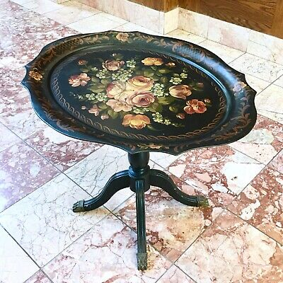 Antique Toleware Tray Side Table Claw Foot Fold Up Display Black Floral Metal